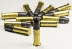 Munitions Rimfire de long fusil Photographie stock