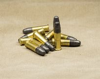 Munitions Rimfire de long fusil Photo stock