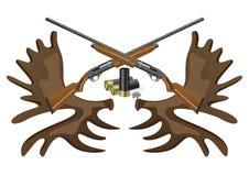Munizioni, pistole e corni. Immagine Stock