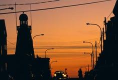munjoy solnedgång för kull Arkivfoton