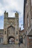Munk Bar, huvudsakliga porthus eller stänger av York stadsväggar, fornminne som omringar den historiska staden av York, England,  royaltyfria bilder