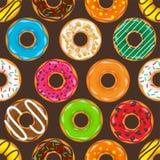 Munk begel med kräm Kakor kakakakauppsättning söt efterrätt med socker karamell Smaklig frukostmatlagning Cafateria stock illustrationer