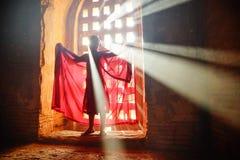 Munk i Bagan, Myanmar Arkivfoto
