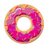 Munk med den rosa glasyren på kaka och stänk - vektorillustration Royaltyfri Illustrationer
