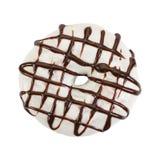 Munk med vit isläggning- och chokladsirap arkivfoton