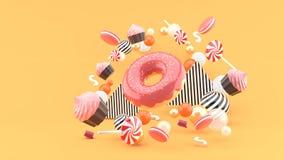 Munk muffin, Macaron, godis som svävar bland färgrika bollar på en orange bakgrund vektor illustrationer