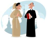Munk och präst Arkivbild