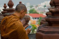 Munk som ser Smart-telefonen royaltyfri fotografi