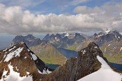 从Munkan, Lofoten海岛,挪威的看法 库存图片