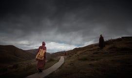 Munkar på bergslingan Royaltyfri Foto