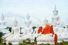 Munkar som klär en av den vita Buddhabilden med ämbetsdräkter Arkivbild