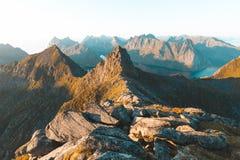 Munkebu山在Lofoten,挪威 免版税图库摄影