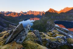 Munkebu mountain in Lofoten, Norway Stock Image