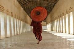 Munken dressred i traditionell röd dräkt med det röda paraplyet i myanmar arkivbilder