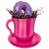Munken faller in i koppen med choklad Arkivbild