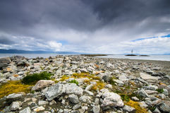 Munkholmen美好的风景海岸线与 免版税库存照片