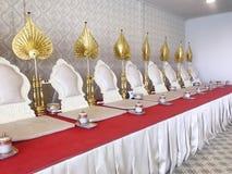 Munkplatser för munk, när göra merit, skandera eller be eller mig arkivfoto