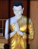 Munkskrik i thai tempel Fotografering för Bildbyråer