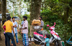 MUNNAR,印度- 2013年2月18日:未认出的人是ga 库存照片