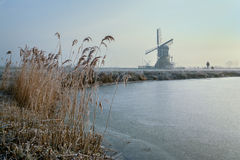 Munnikenmolen. The windmill of the Munnikenpolder near Leiderdorp the Netherlands in a winters mood Stock Photos