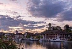 Munot в сумерк, schaffhausen, Швейцария Стоковые Фотографии RF