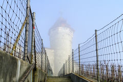 The Munot in a foggy day, Schaffhausen Stock Image