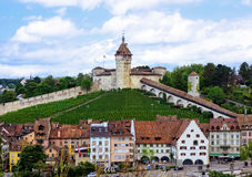 The Munot Fortification. In the Swiss city of Schaffhausen with it`s surrounding vineyards royalty free stock photos