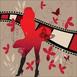 Munroe. Silhouette of iconic pose of Marlyin Munroe with filmstrip and montage od coils leaves and butterflies Royalty Free Stock Images