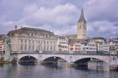 Munster bridge over Limmat river in Zurich Stock Photos
