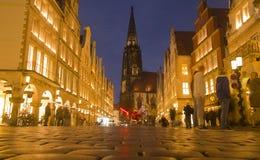 Munster på natten, Tyskland Royaltyfri Fotografi