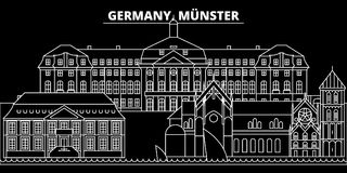 Munster silhouette skyline. Germany - Munster vector city, german linear architecture, buildings. Munster line travel. Munster silhouette skyline. Germany Stock Photography