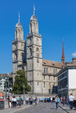 Munsterbrucke bridge and Grossmunster in Zurich Royalty Free Stock Photography