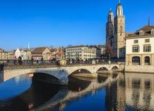 Munsterbrucke bridge in Zurich, Switzerland Stock Photos