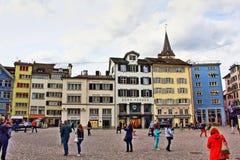 Munsterhof fyrkant Zurich Schweiz Fotografering för Bildbyråer