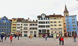Munsterhof fyrkant Zurich Schweiz Arkivbilder