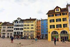 Munsterhof fyrkant Zurich Schweiz Royaltyfri Fotografi