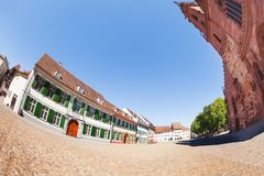 Munsterplatz and cathedral at sunny day Basel. Beautiful view of Munsterplatz and Basel Munster at sunny day, Switzerland Royalty Free Stock Images