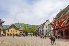 Munsterplatz, the central square of Freiburg im Breisgau, Germany Stock Images