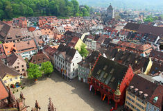Munsterplatz and Freiburg old town, Germany Royalty Free Stock Image