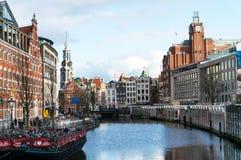 Munt塔和花市场在阿姆斯特丹荷兰 免版税库存图片