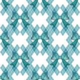 Munt Blauwgroen Geruit Schots wollen stof met van bandbogen Uitstekende Vectorillustratie Als achtergrond stock illustratie