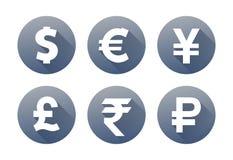 Munt grijze pictogrammen met van de het pondyen van de schaduwdollar de euro roebel van de de yuansroepie Royalty-vrije Stock Fotografie