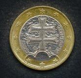 Munt van Europa 1 Euro muntstuk van Slowakije Royalty-vrije Stock Fotografie