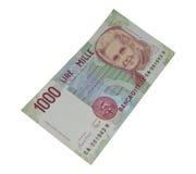 munt van het 1000 Lires de oude Italiaanse bankbiljet Stock Afbeeldingen
