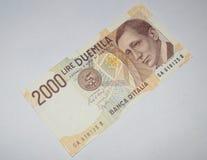 2000 munt van het Lires oude Italiaanse bankbiljet Stock Afbeeldingen