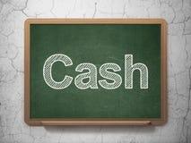 Muntconcept: Contant geld op bordachtergrond Stock Fotografie