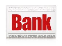Muntconcept: de Bank van de krantenkrantekop Stock Fotografie