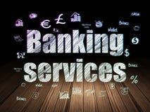 Muntconcept: De bankwezendiensten in grunge donkere ruimte Royalty-vrije Stock Foto's