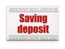 Muntconcept: de Besparingsstorting van de krantenkrantekop Royalty-vrije Stock Foto
