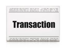 Muntconcept: de Transactie van de krantenkrantekop Stock Foto